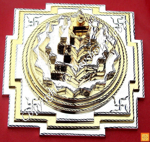 Meru Chakra in Panchdhatu with gold and silver polish for Prosperity , Correct Vastu and Harmony - Devshoppe