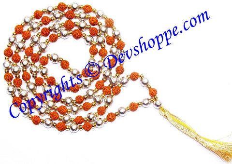 Rudraksha Parad Combination Mala for Spiritual Benefits - Premium Quality - Devshoppe