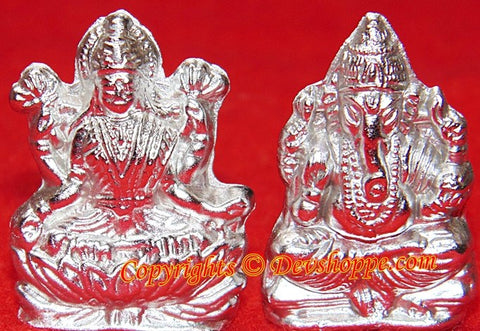 Parad Sri Ganesha and goddess Lakshmi idol - Devshoppe