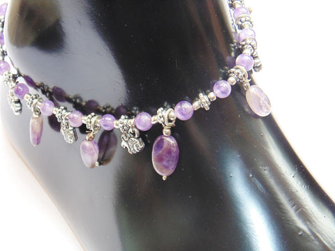 Amethyst Anklet - made up from Amethyst beads - Devshoppe