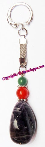 Amethyst Natural Pebble Tumbled Stone Keychain - Devshoppe