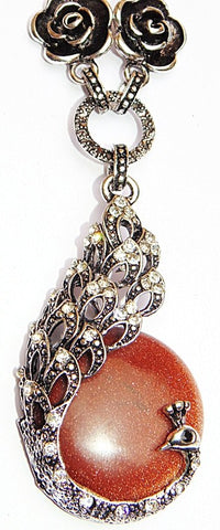 Beautiful Necklace with Sunstone Peacock shaped pendant - Devshoppe