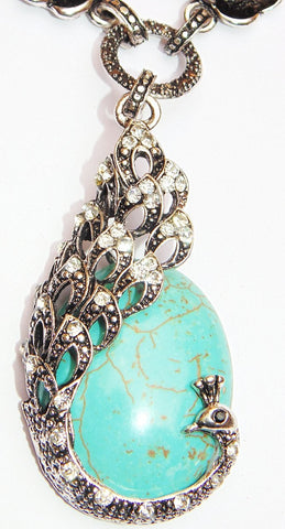 Beautiful Necklace with Turquoise (Firoza) Peacock shaped pendant - Devshoppe
