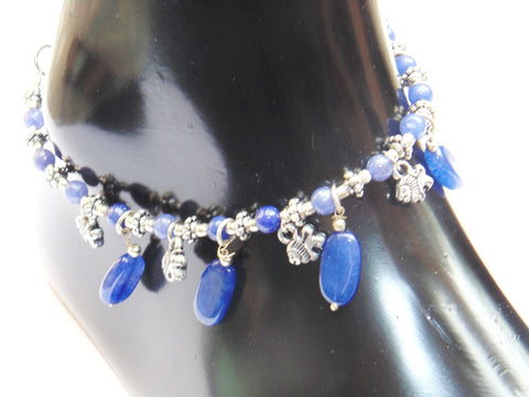 Blue agate Anklet - made up from Blue agate beads - Devshoppe