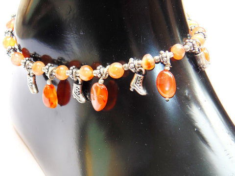 Carnelian Anklet - made up from Carnelian beads - Devshoppe