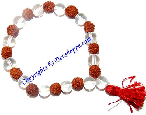 Rudraksha Sphatik (Crystal) beads combination bracelet in stretch elastic - Devshoppe