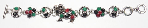 Elephant bracelet in german silver with Onyx stones - Devshoppe