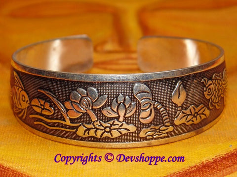 Fish And Lotus Cuff Bracelet - Devshoppe