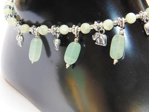 Green Jade Anklet - made up from Green jade beads - Devshoppe