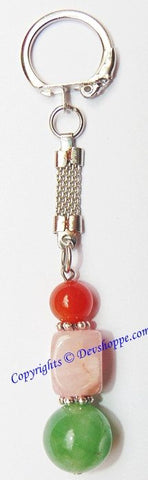 Green Jade , Rose Quartz and Carnelian Natural pebble tumbled stone keychain - Devshoppe