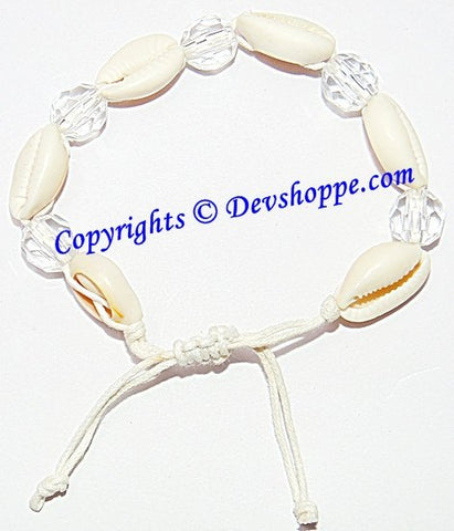 Handmade Cowrie (Cowri) Shell Bracelet in thread with Crystal beads - Devshoppe - 1