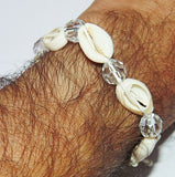 Handmade Cowrie (Cowri) Shell Bracelet in thread with Crystal beads - Devshoppe