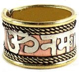 Om Namah Shivay three metal mantra finger ring - Devshoppe