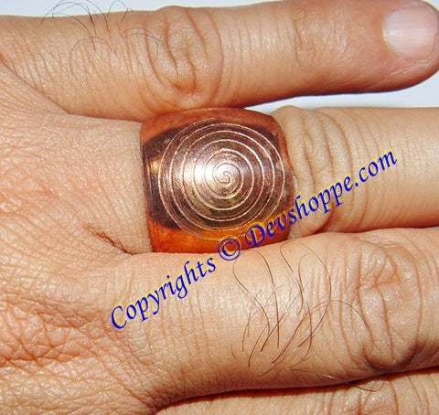 Pure Copper ring with Chakra design engraved on it - Devshoppe - 1