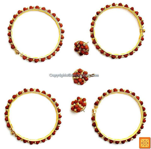 Rudraksha Gold plated beads combination Bangles, Earrings and Pendant - Jewellery set - Devshoppe