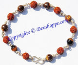 Rudraksha Tiger eye faceted beads Combination Bracelet - Devshoppe - 1