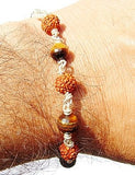 Rudraksha Tiger eye faceted beads Combination Bracelet - Devshoppe - 2