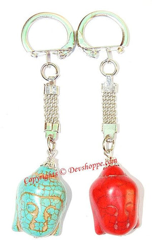 Set of 2 Buddha head Keychains (Keyrings) - Devshoppe