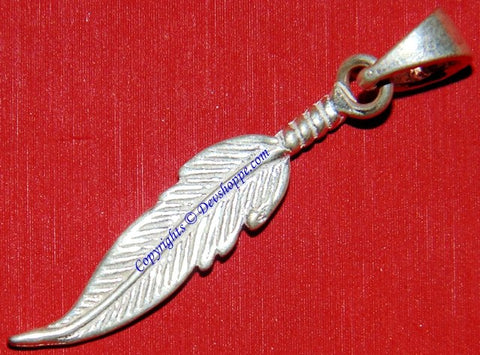 Silver feather shaped pendant Lucky charm - Devshoppe