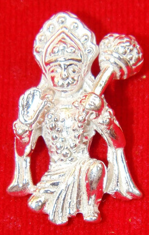 Sri Hanuman in sitting position pure silver pendant - Devshoppe - 1