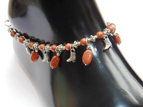 Sunstone Anklet - made up from Sunstone beads - Devshoppe - 1