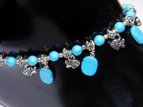 Turquoise Anklet - made up from Turquoise beads - Devshoppe