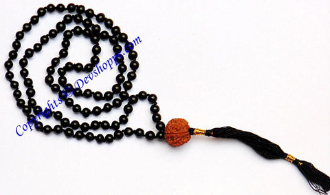Black Hakik (Agate) mala for protection from black magic with Seven faced (7 mukhi) Rudraksha - Devshoppe