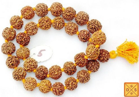 Five mukhi giant beads mala of 32+1 beads (18-22 mm) with knots between beads - Devshoppe