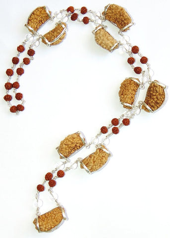 One faced ( 1 mukhi ) Rudraksha - Light of god mala with diamond cutting Sphatik beads in silver - Devshoppe