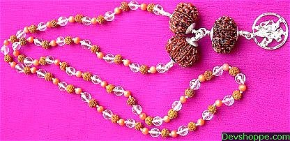 Powerful Rudraksha Mala with Coral, Crystal Beads with Lord Hanumana Pendant - Devshoppe