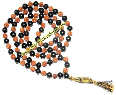 Rudraksha and Black hakik (Agate) combination mala for Protection and Power - Devshoppe