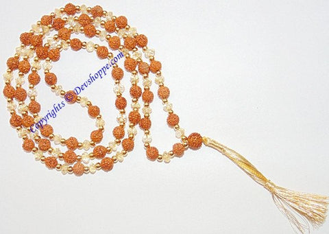Rudraksha and Citrine beads combination mala - Devshoppe - 1
