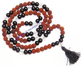 Rudraksha Black Agate (Hakik) combination mala for protection and power - Devshoppe