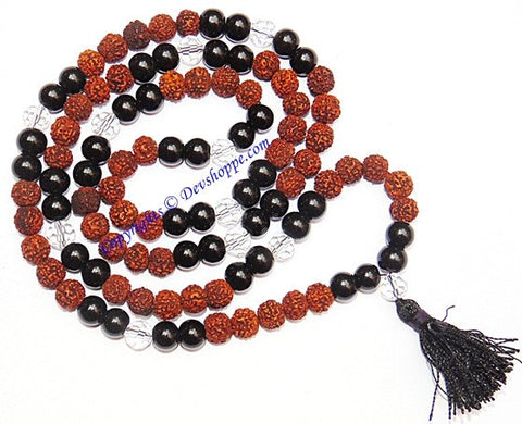 Rudraksha Black Agate (Hakik) combination mala for protection and power - Devshoppe - 1