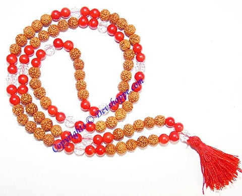 Rudraksha Coral (Munga) combination mala for planet Mars - Devshoppe