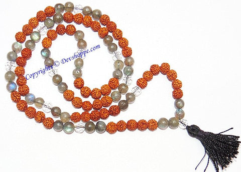 Rudraksha Labradorite combination mala for protection from negativity - Devshoppe - 1