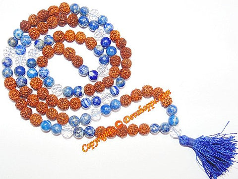 Rudraksha Lapis Lazuli combination mala for Saturn - Devshoppe - 1