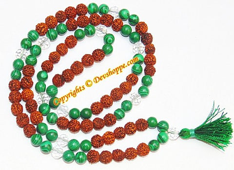 Rudraksha Malachite combination mala for planet Mercury and Venus - Devshoppe - 1