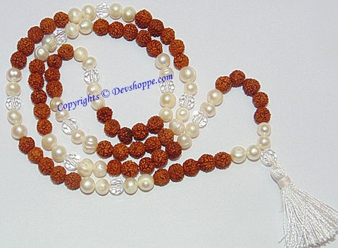 Rudraksha Pearl (Moti) combination mala for planet Moon - Devshoppe