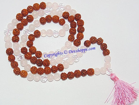 Rudraksha Rose Quartz combination mala for Love and Romance - Devshoppe - 1