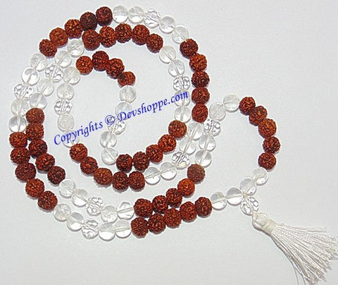 Rudraksha Sphatik (Crystal) combination mala for Venus - Devshoppe - 1
