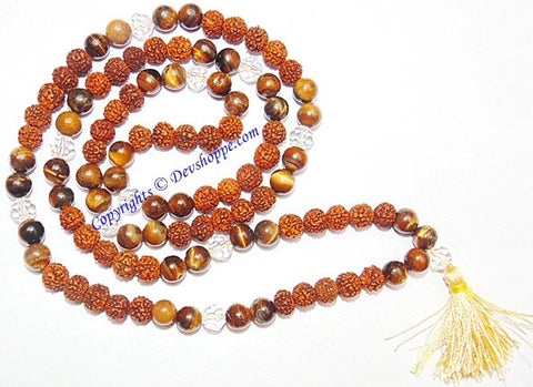 Rudraksha Tiger eye combination mala for Power and Confidence - Devshoppe - 1