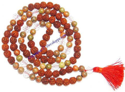 Rudraksha Unakite combination mala for protection and relieve stress - Devshoppe - 1
