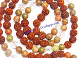 Rudraksha Unakite combination mala for protection and relieve stress - Devshoppe - 2
