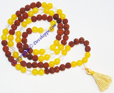 Rudraksha Yellow jade combination mala for Jupiter - Devshoppe - 1