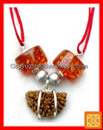 One Faced (1 Mukhi) Rudraksha, Parad Beads and Amber - Powerful Combination Pendant - Devshoppe