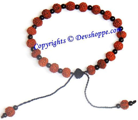 Rudraksha 7 mukhi bracelet with glass spacers - Devshoppe - 1