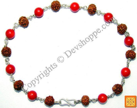 Rudraksha and Coral Combination Bracelet - Devshoppe