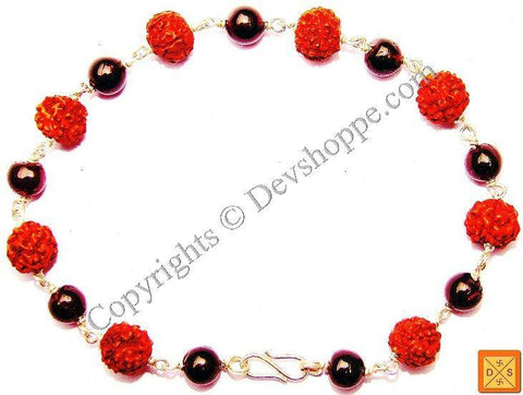 Rudraksha and Garnet Combination Bracelet - Devshoppe