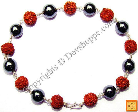 Rudraksha and Hematite Combination Bracelet - Devshoppe